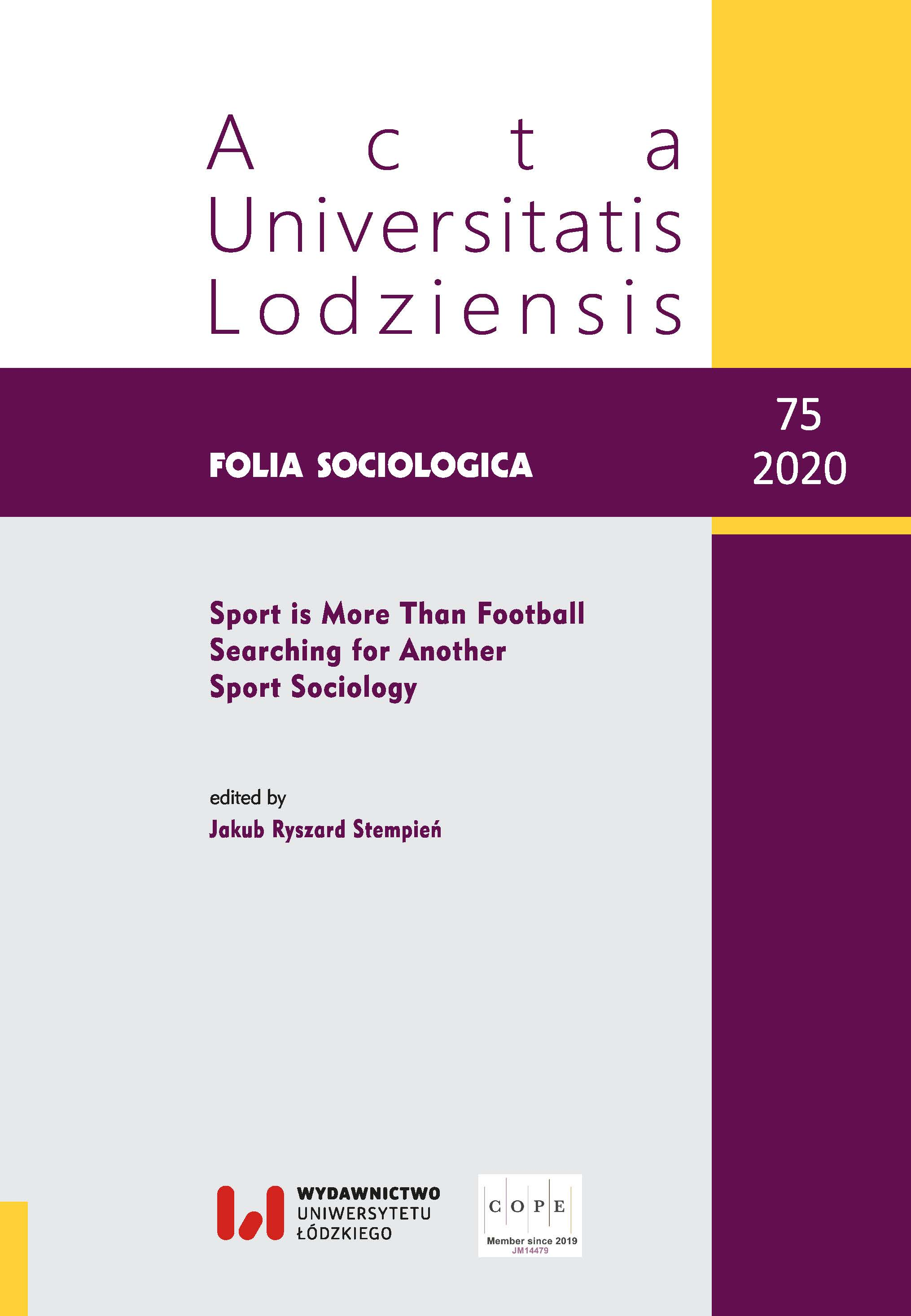 Wyświetl Nr 75 (2020): Sport is More Than Football. Searching for Another Sport Sociology