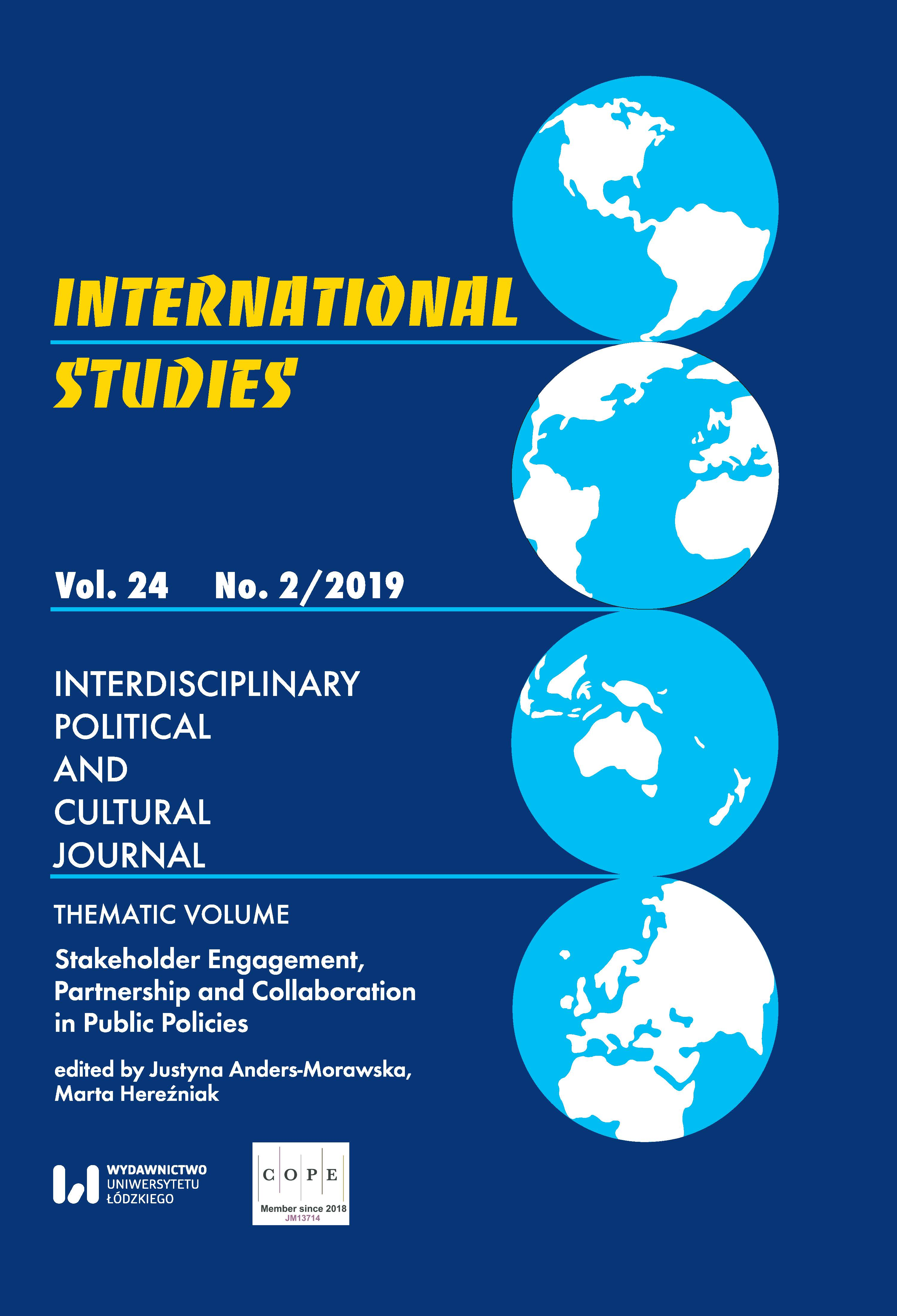 View Vol. 24 No. 2 (2019): Stakeholder Engagement, Partnership and Collaboration in Public Policies