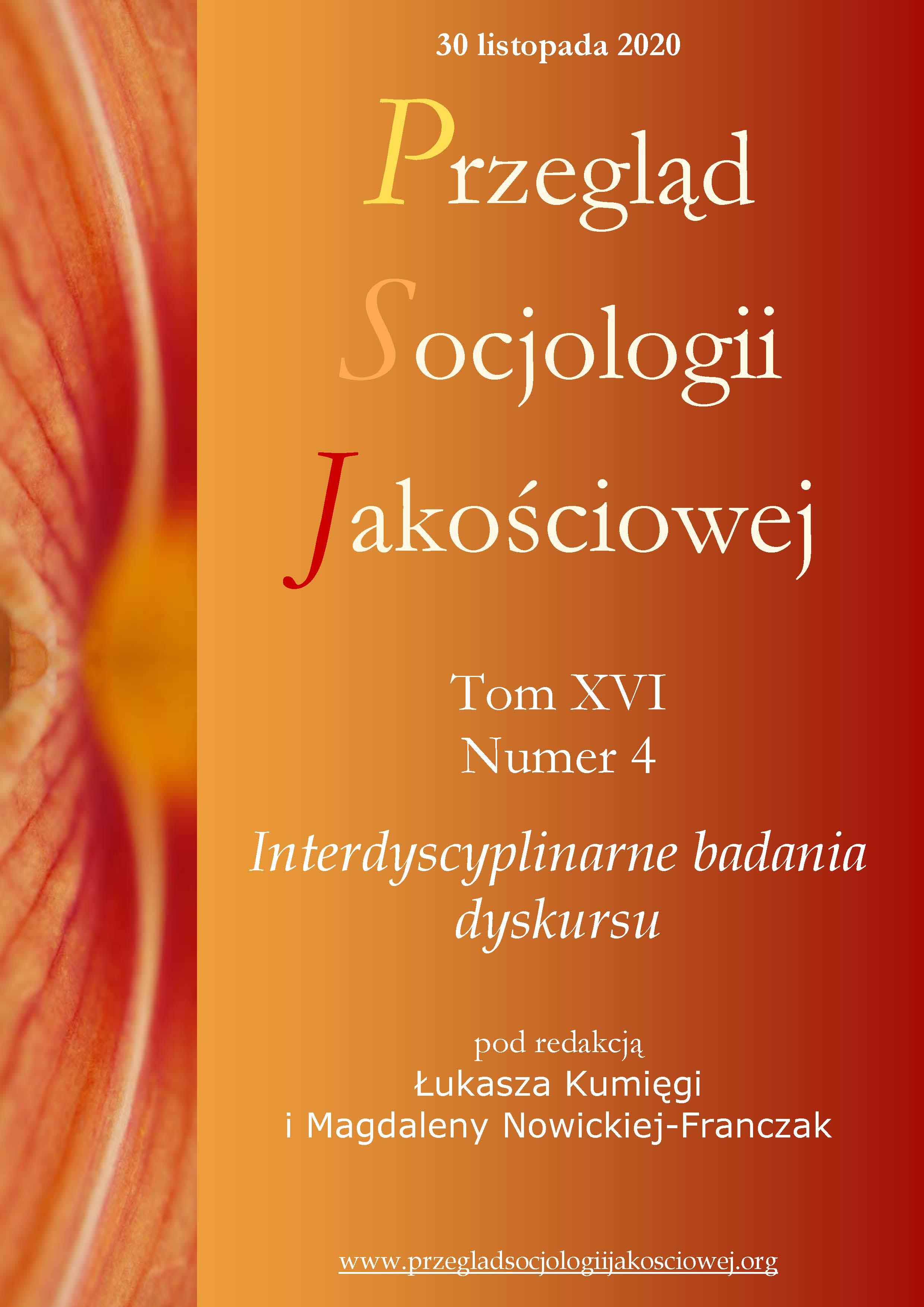 Wyświetl Tom 16 Nr 4 (2020): Interdyscyplinarne badania dyskursu