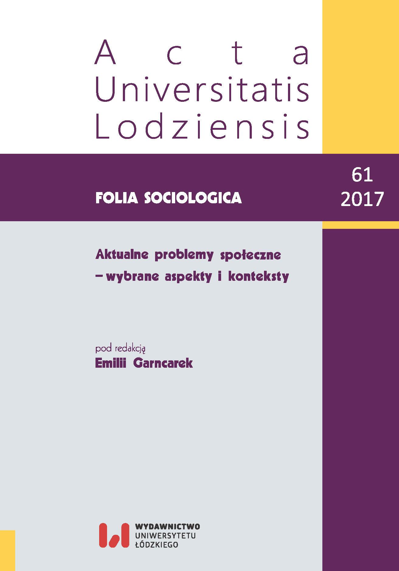 Wyświetl Nr 61 (2017): Aktualne problemy społeczne – wybrane aspekty i konteksty