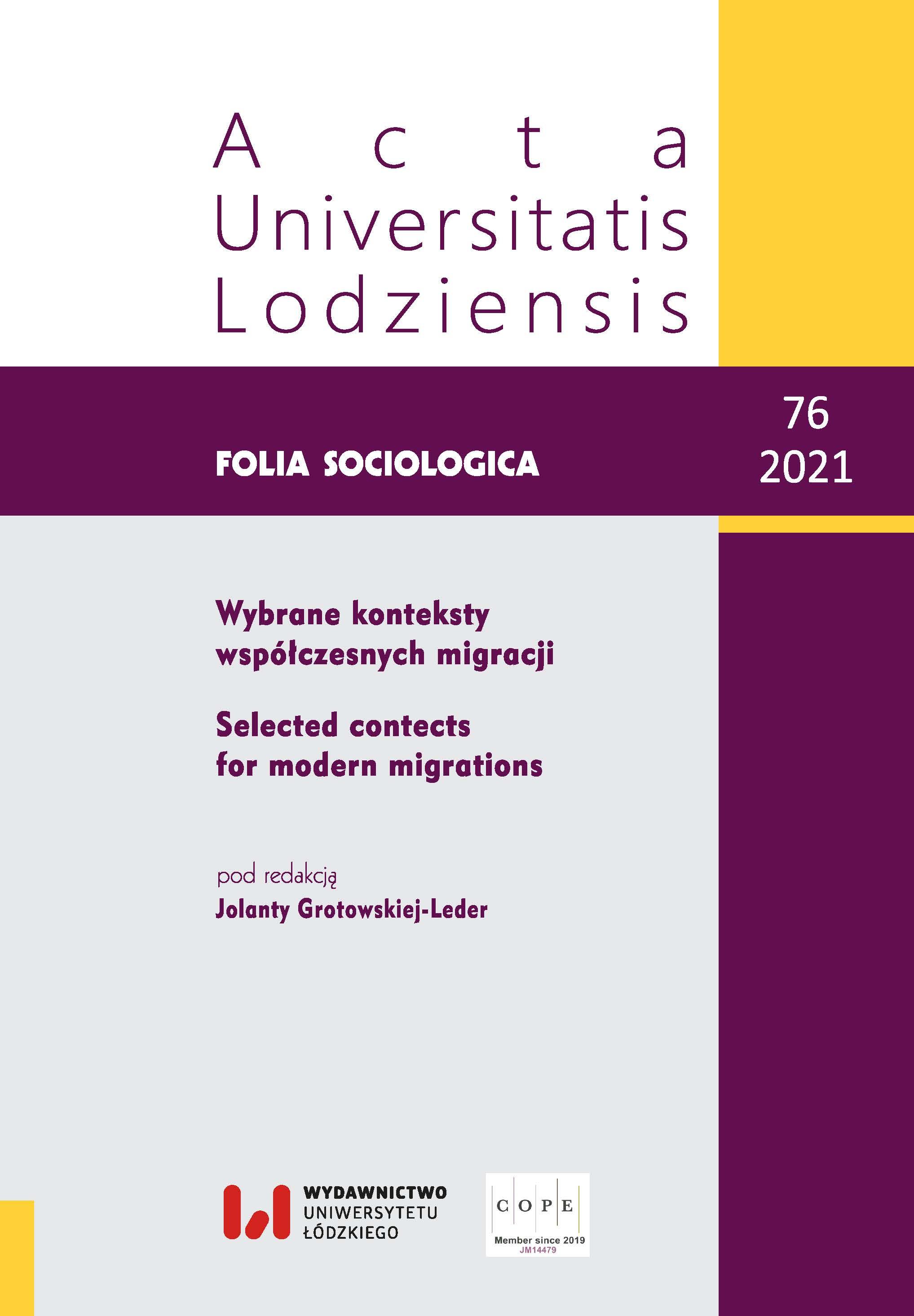 Wyświetl Nr 76 (2021): Wybrane konteksty współczesnych migracji