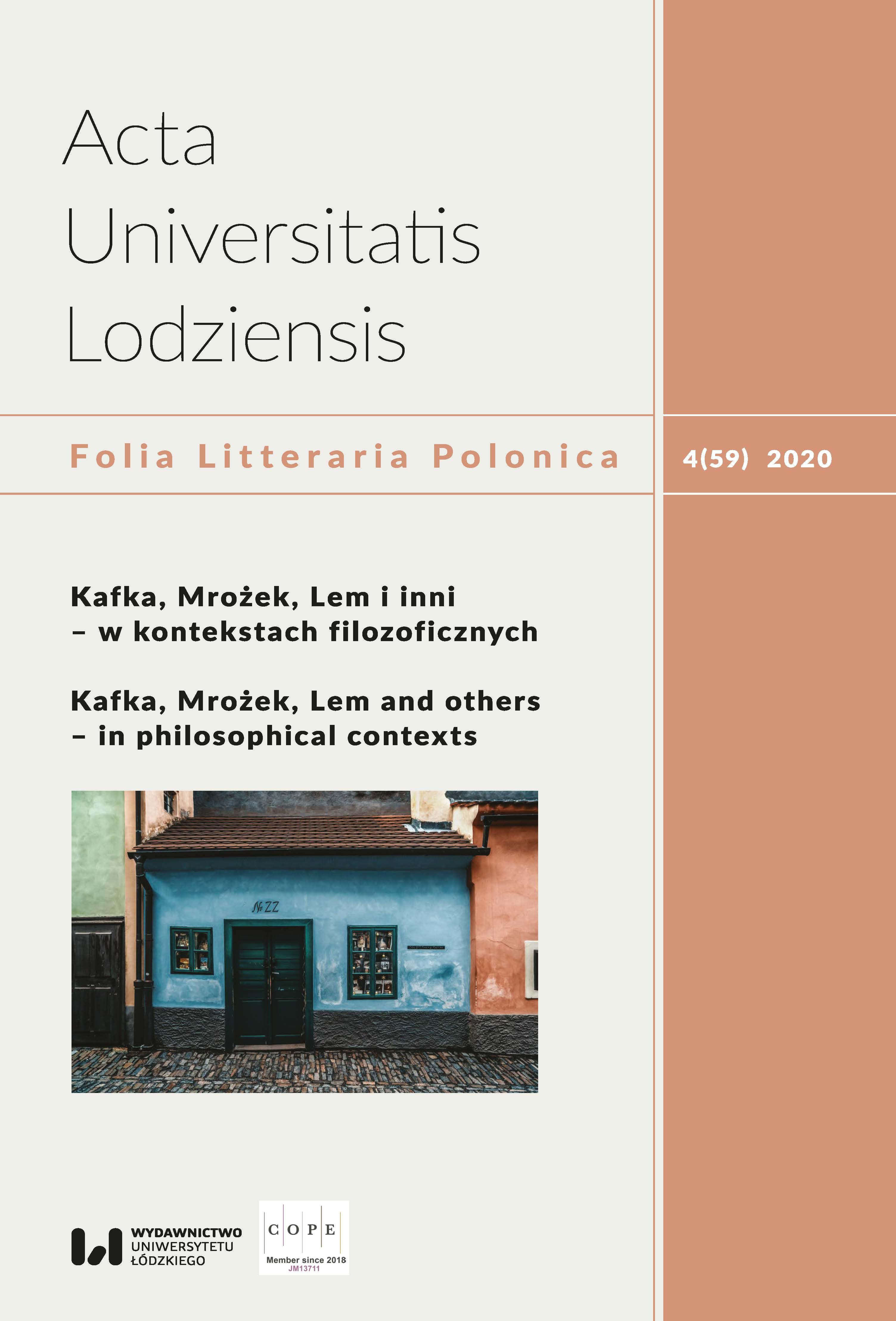 Wyświetl Tom 59 Nr 4 (2020): Kafka, Mrożek, Lem i inni – w kontekstach filozoficznych / Kafka, Mrożek, Lem and others – in philosophical contexts
