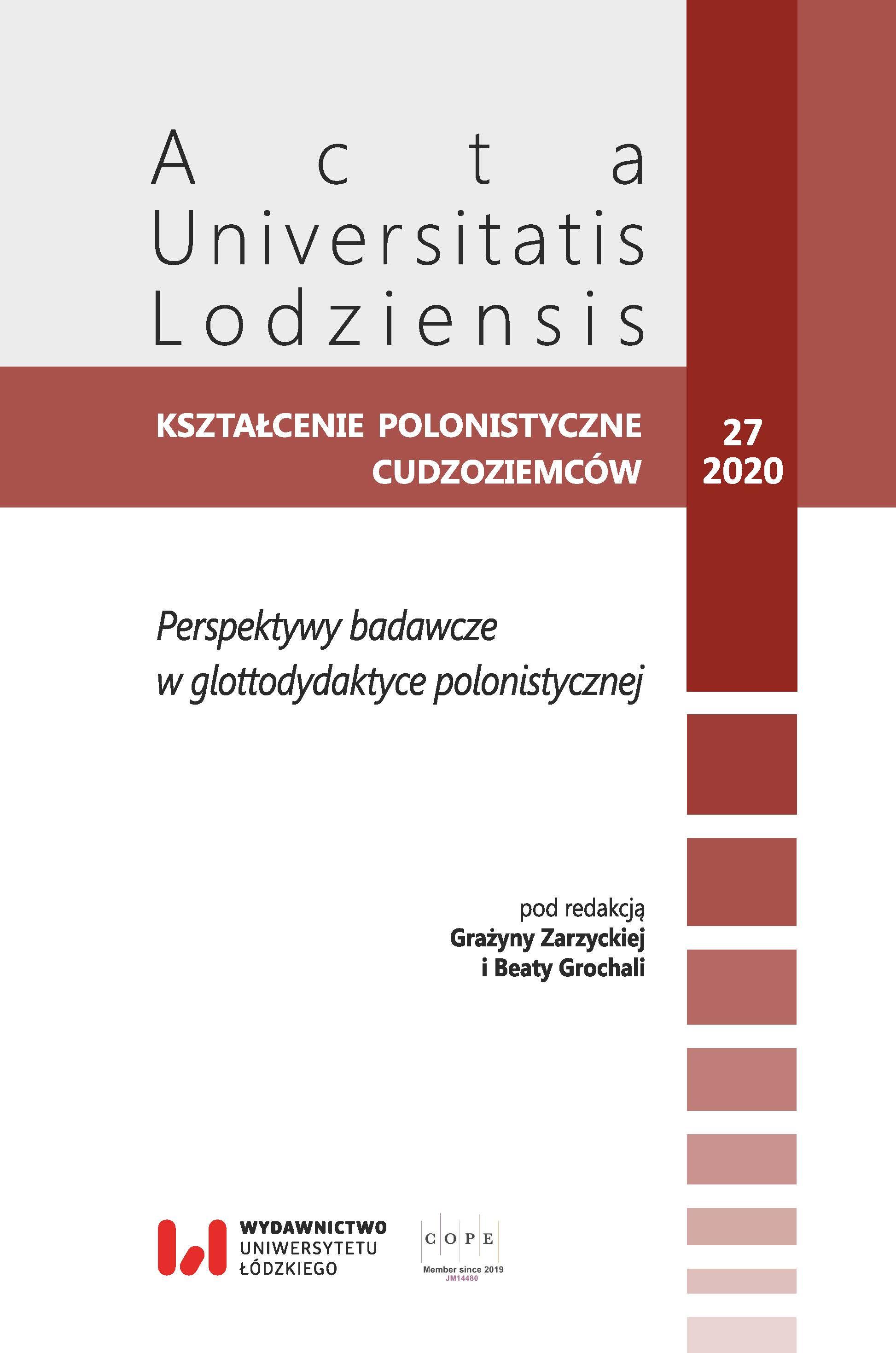 Wyświetl Tom 27 (2020): Perspektywy badawcze  w glottodydaktyce polonistycznej