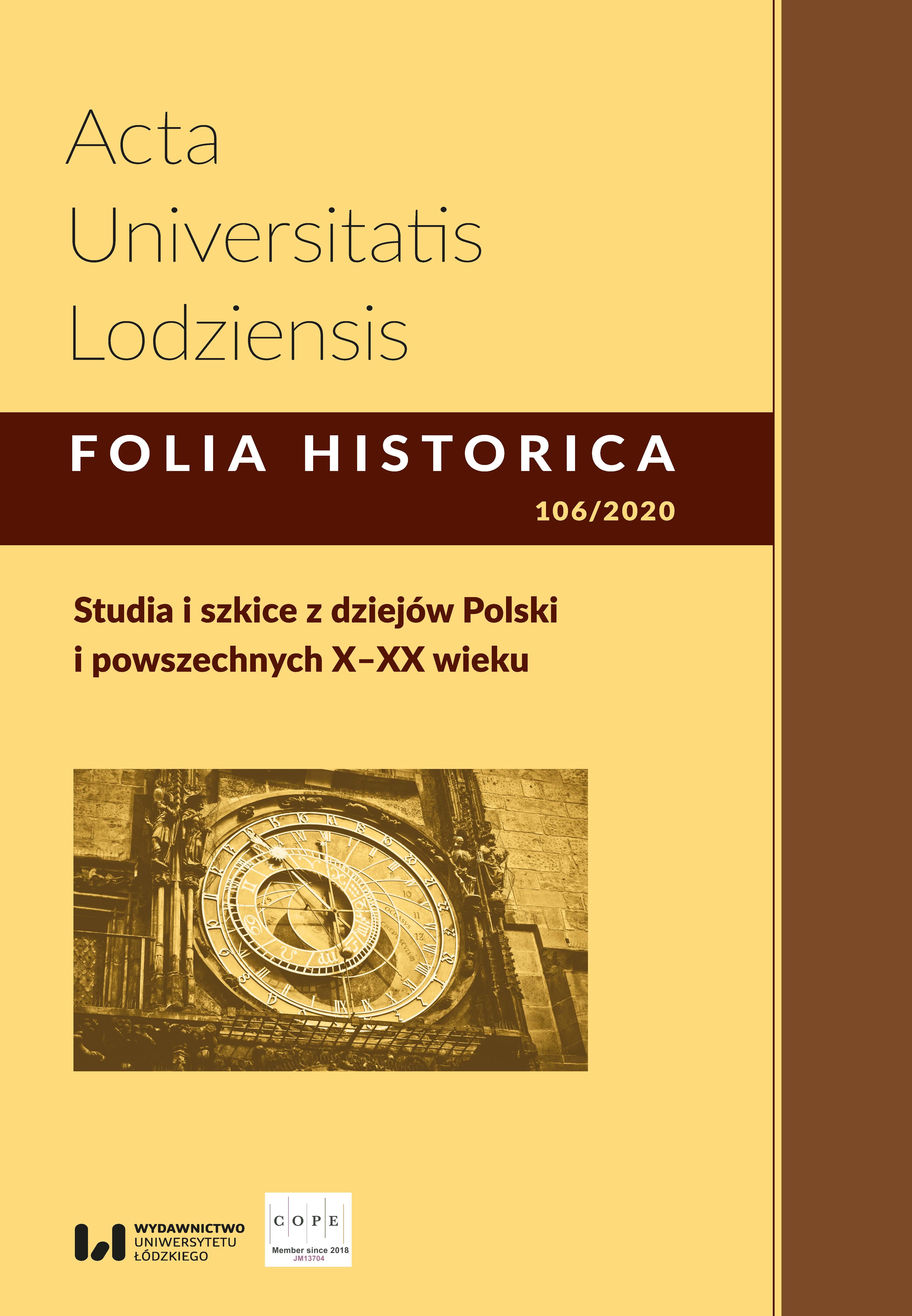 Wyświetl Nr 106 (2020): Studia i szkice z dziejów Polski i powszechnych X–XX wieku