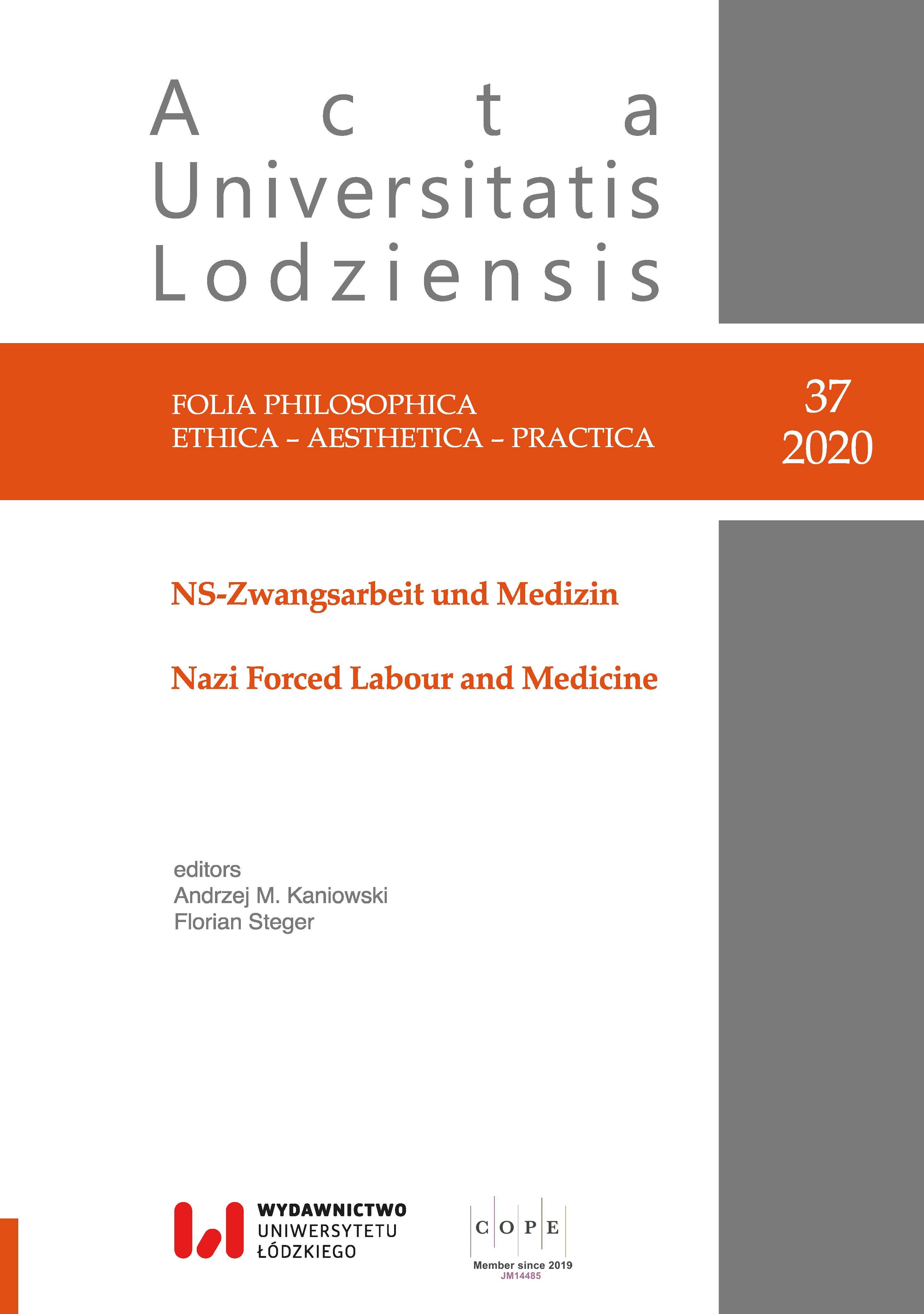 Wyświetl Nr 37 (2020): NS-Zwangsarbeit und Medizin / Nazi Forced Labour and Medicine