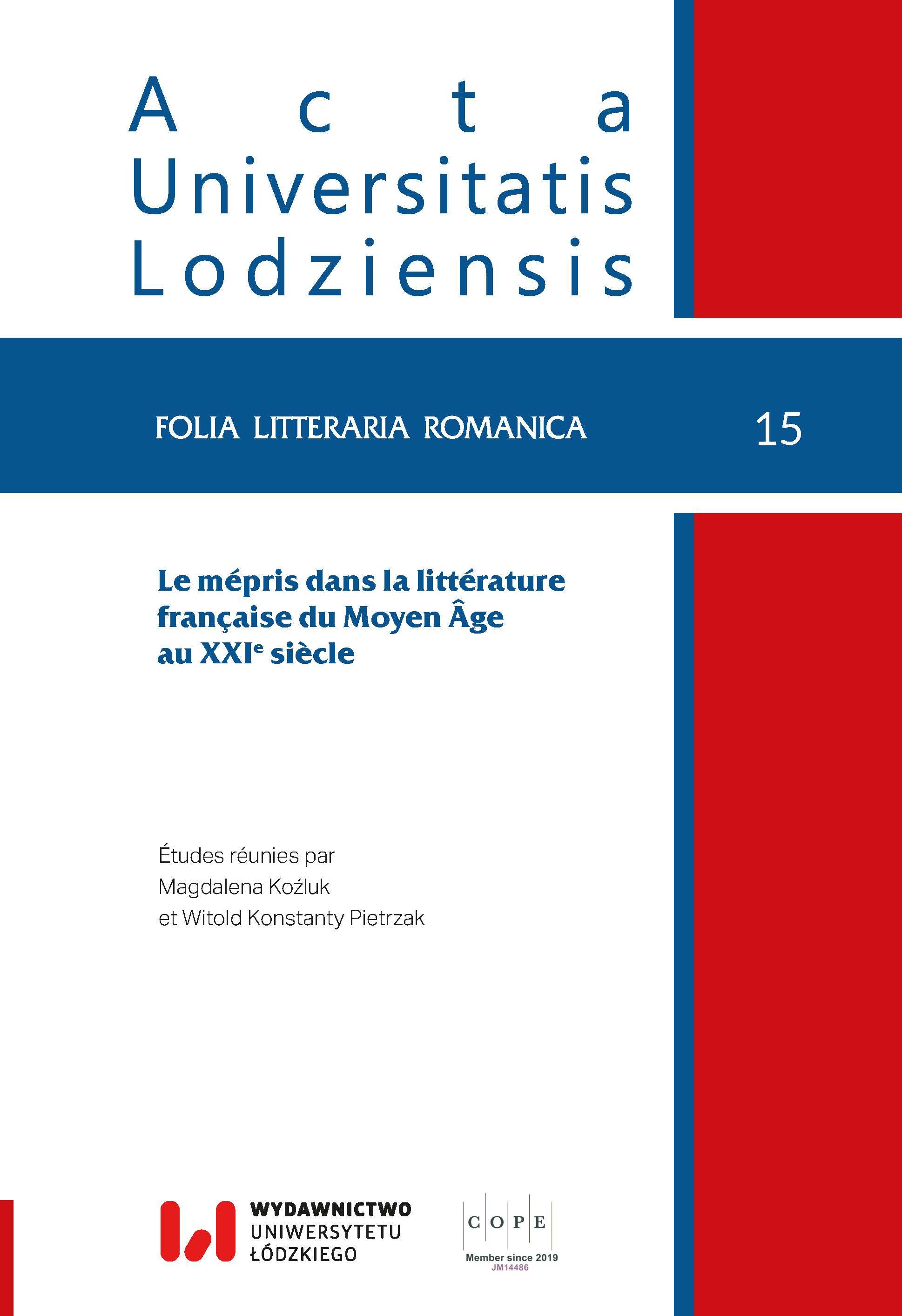 View No. 15 (2020): Le mépris dans la littérature française du Moyen Âge au XXIe  siècle